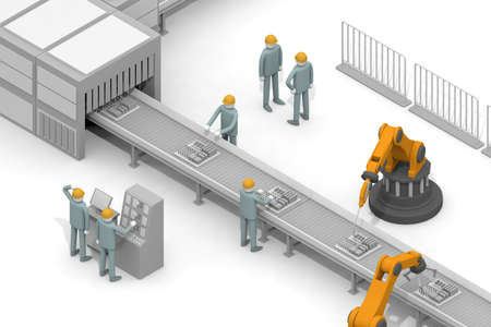 Belt conveyor assembly line work. Work in a factory. The person who operates the robot. Work with a colleague. 3D rendering Stock fotó