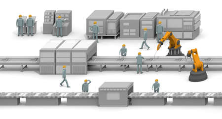 Introduce a robot. Increase productivity. A man working in a factory. Many employees. 3D rendering