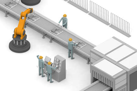 A person who works in a factory. Operate the robot. Work in the manufacturing industry. Manufacturing work. 3D rendering
