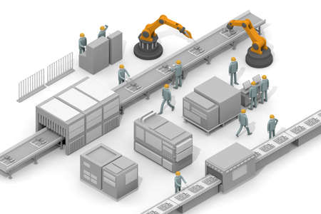 Operate the robot. Assembly line assembly. A person who works in a factory. Make electronic devices. 3D rendering