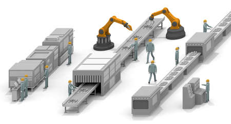 Move the machine. Operate the robot. Work in the factory. Work that uses physical strength. A robot that operates with AI. 3D rendering