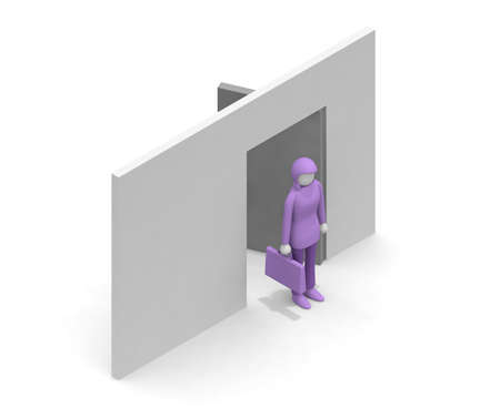 open the door. Enter the office. Head to business. A woman who works. A person who wants a job. 3D rendering Stock fotó