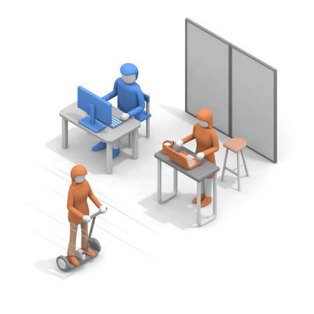 Run the office on a transporter. A woman moving through the company. Office work scene. A person riding a Segway. 3D rendering