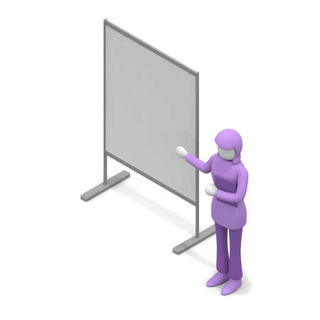 A woman giving a presentation. The person who gives the explanation. Product launch. The person who works. 3D rendering