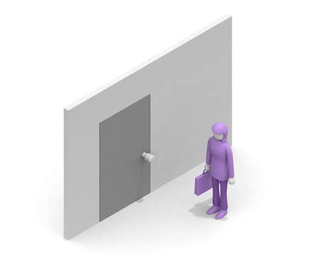 Visit a business partner. A woman heading for business. A person who goes to a business talk. A woman standing in the corridor of the company. 3D rendering Stock fotó