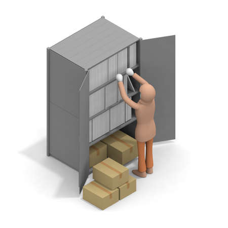 A woman who organizes shelves. A person who cleans up cardboard. A woman cleaning the office. Look for documents. 3D rendering