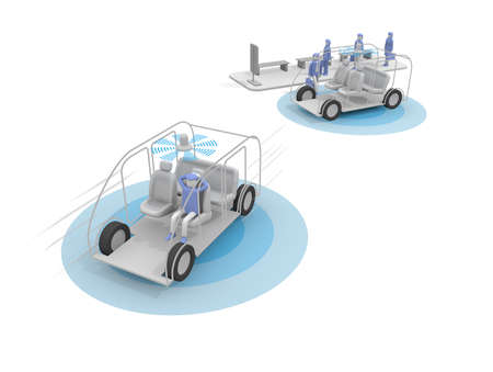 A completely unmanned taxi. Take an autonomous taxi. A vehicle without a driver. 3D rendering Stock fotó