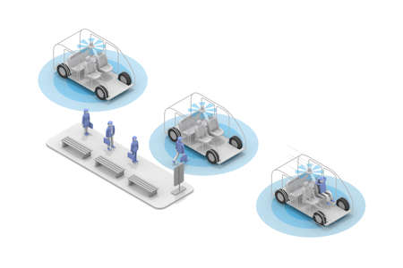 A taxi without a driver. Take an unmanned taxi. A person waiting at a taxi stand. 3D rendering Stock fotó