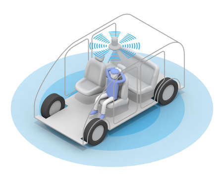 Take an autonomous taxi. A car without a driver. A taxi that runs fully automatically. One passenger. 3D rendering Stock fotó