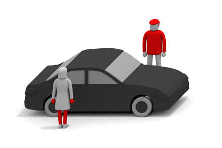 Drive date by car. Men and women who go to play by car. Men and women are standing across the car. Black car. 3D rendering Stock fotó