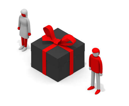 Give a present to a woman. Give Christmas presents.Give a gift to your lover. 3D rendering
