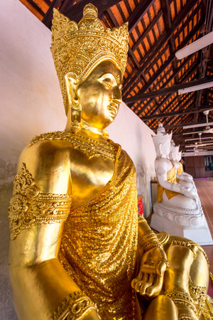 buddha statue: Buddha sculpture at Temple Wat Phra That Haripunchai in Lamphun Stock Photo