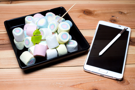 m: Phone and marshmallow