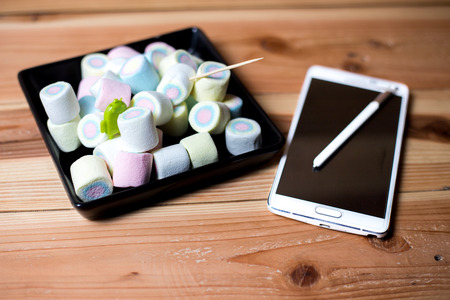 m: Phone android M 6.0 is marshmallow Stock Photo