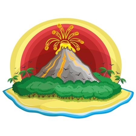 Cartoon volcano  向量圖像