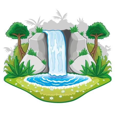 cascades: Illustratie van cartoon natuur Stock Illustratie