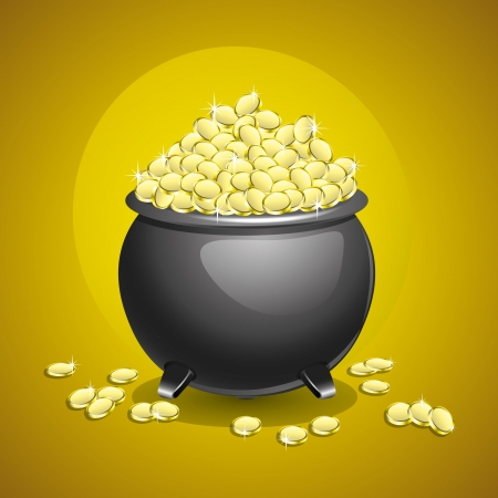 Pot of gold isolated on brown background   Vector