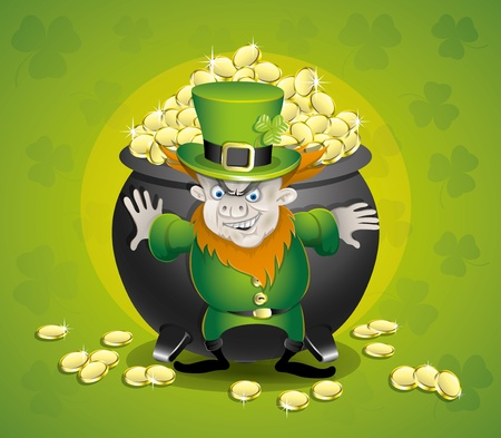 Illustration Pot of gold and leprechaun   Vector