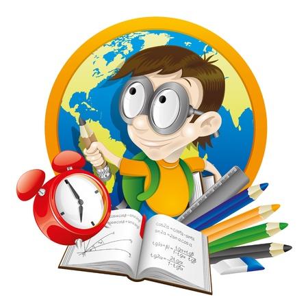 escuela caricatura: Ilustración School Vectores