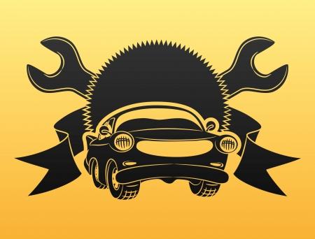 auto service: Black car sign   Illustration