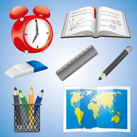 iconos educacion: Conjunto de iconos de la educaci�n