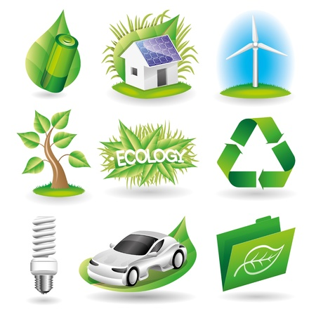 antipollution: Set ecology icons   Illustration