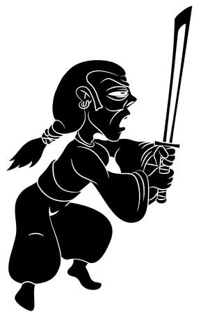 guerrero samurai: Vector silueta del guerrero del samurai