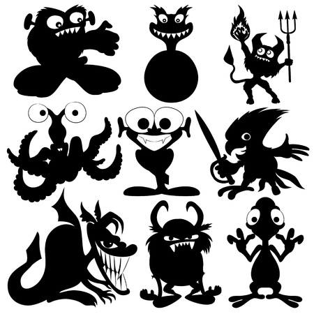 bacteria cartoon: Vector silhouettes  Monster set   Illustration