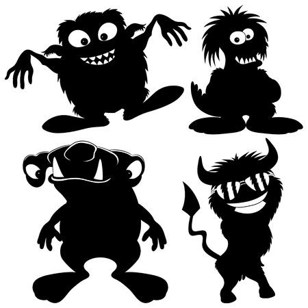 Vector silhouette  Monster set   Vector