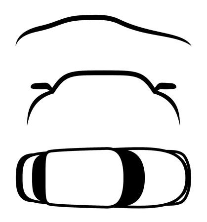 silhouette voiture: Vector 3 icônes Voitures Illustration