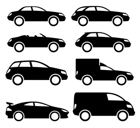 Vector  8 black cars Stock Vector - 21633300