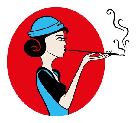 smoking woman: Vector  Woman