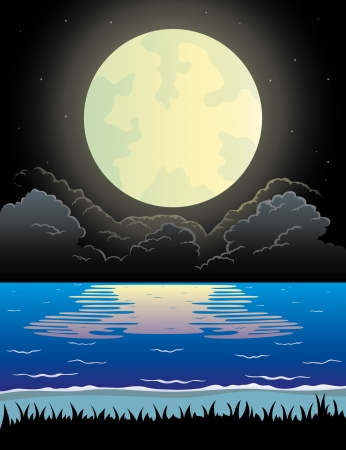 Vector  Night beach   Stock Vector - 21633771