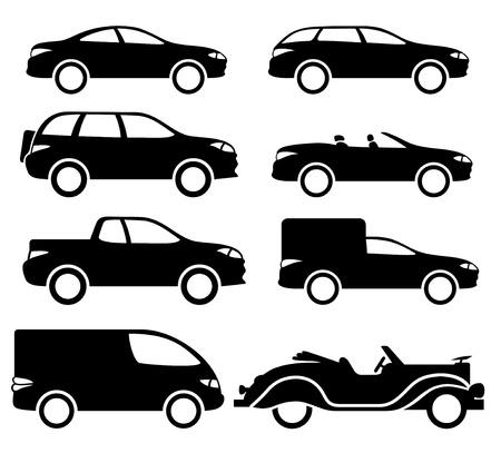 8 黒い車をベクトルします。