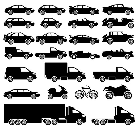 Vector  25 black icons  Cars   Vector