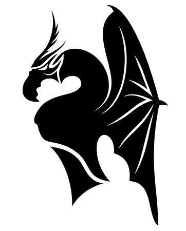 dragon tattoo: Vector  Black dragon