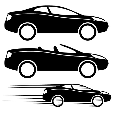 transportation silhouette: Vector  3 icons  Cars