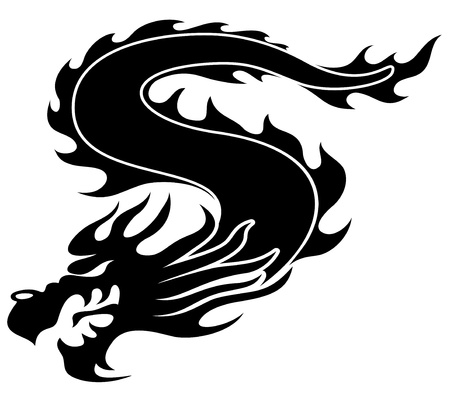 dragon tattoo: Black dragon   Illustration