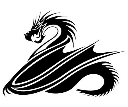 dragon tattoo: Dragon noir Illustration