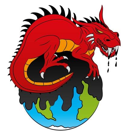 mundo contaminado: Drag�n rojo Vectores