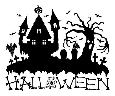 monsters house: Halloween card
