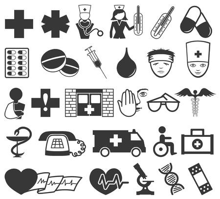 iconos medicos: iconos m�dicos Vectores