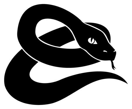snake charmer: Black snake   Illustration