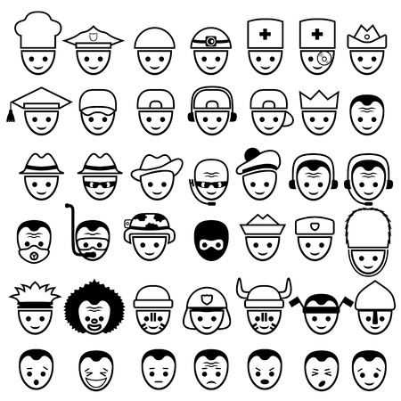 faces  Icons set   Vector