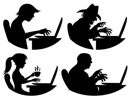 People and computer Vector