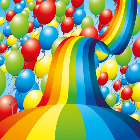 Balloons and rainbow Stock Vector - 23822428