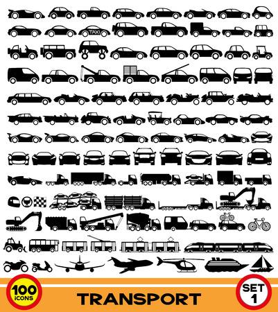 100 の交通機関のアイコン  イラスト・ベクター素材