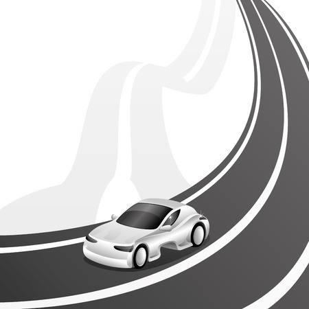 driveway: Transportation sign for your text  Illustration