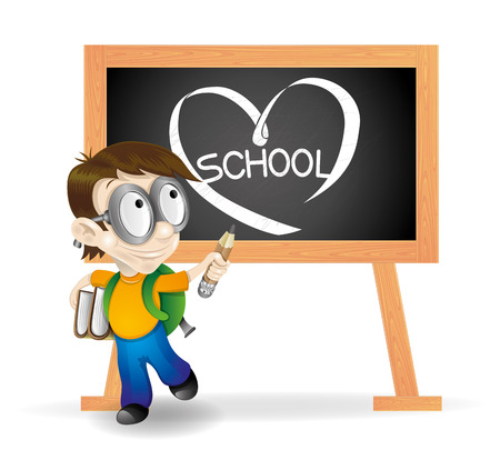 Pupil and blackboard on white  Vector