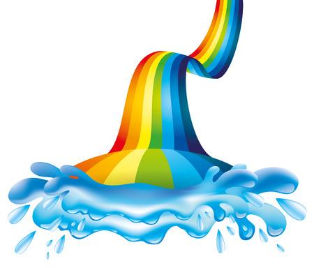 water splash: Rainbow and water splash